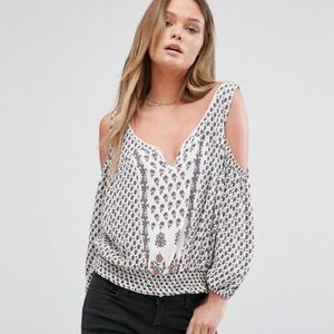 MANGO Boho Cold Shoulder Floral Print Top